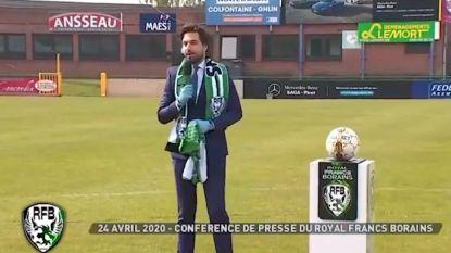 """MR-voorzitter Bouchez op de tonen van """"we are the champions"""" aangesteld als voorzitter van amateurclub Francs Borains"""