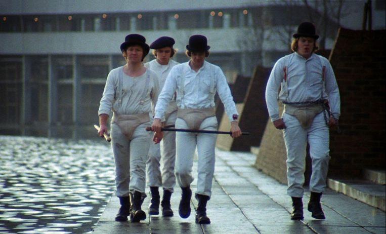 Alex en zijn kompanen in 'A Clockwork Orange'.