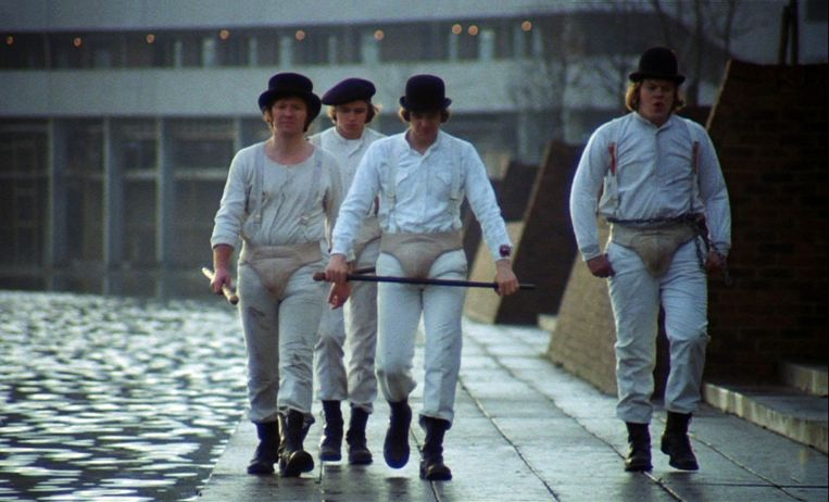 Alex en zijn kompanen in 'A Clockwork Orange'.