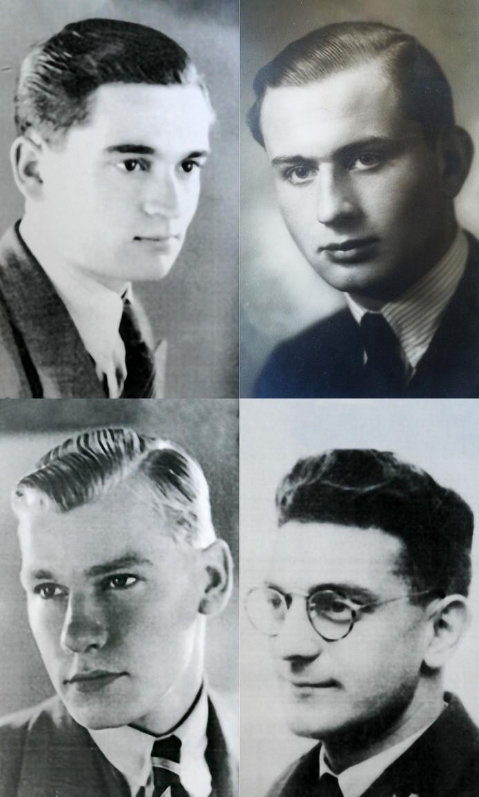 Met de klok mee vanaf linksboven Barend Busnac, Frans van Spaendonck, Joop de Jong en Albert Meintser.