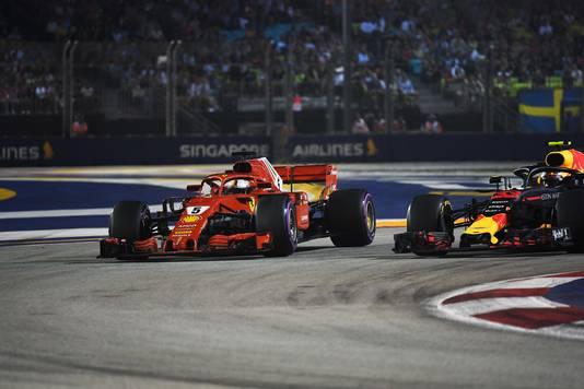 Verstappen en Vettel vechten om de tweede plek