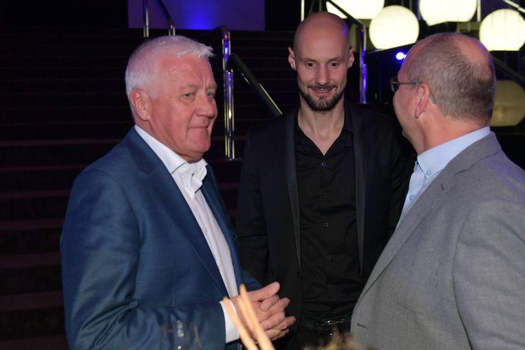 Patrick Lefevere met Tom Boonen en Paul De Geyter.