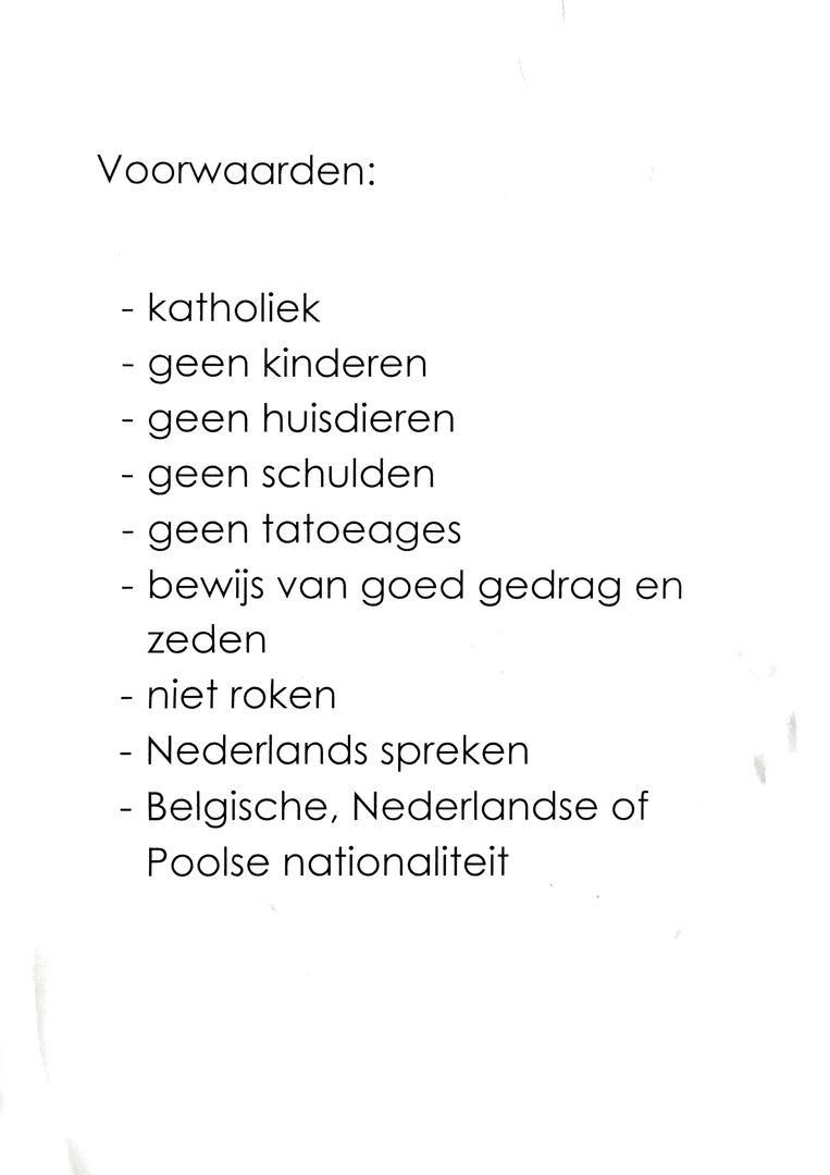 Herman Horion uit Lummen maakte wel een lijstje met voorwaarden op.