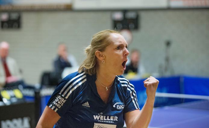 Brenda Vonk won haar beide enkelspelen. Archieffoto Herman Stover