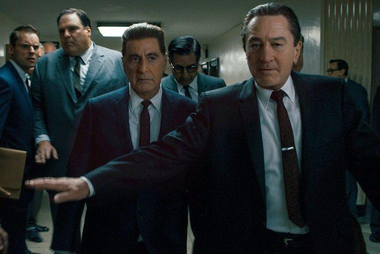 Al Pacino (m.) en Robert De Niro kregen voor een groot deel van 'The Irishman' een digitale verjongingskuur.