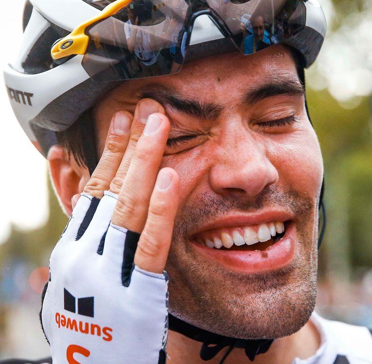 Tom Dumoulin na het behalen van de tweede plaats in de Tour de France 2018. Beeld ANP