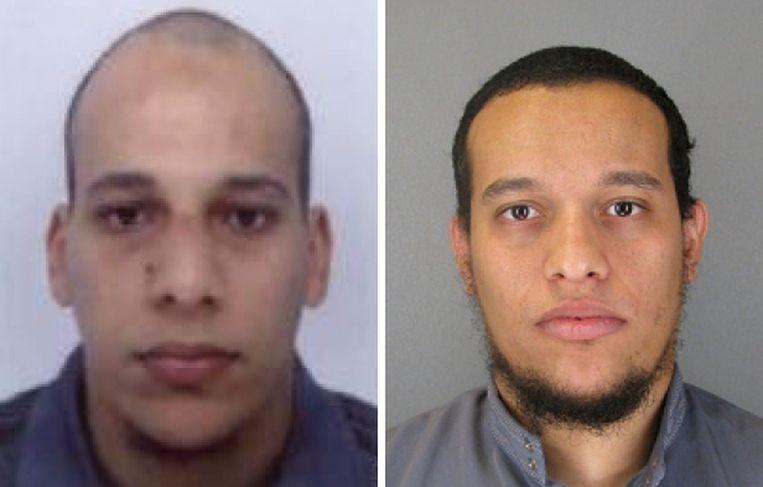 De twee nog voortvluchtige verdachten Cherif (l.) en Said (r.) Kouachi.