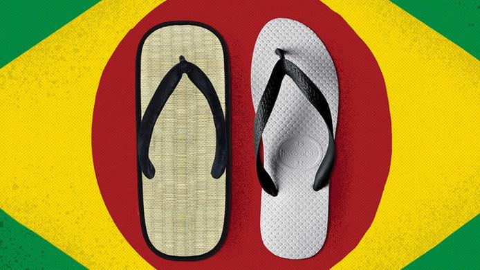 La marque s'est inspirée des Zori, des sandales japonaises en tissu avec une semelle en paille de riz.