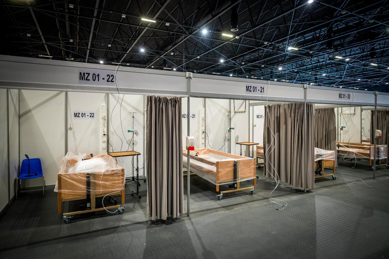 Congrescentrum MECC werd bijna volledig ingericht als noodhospitaal voor patiënten met het coronavirus.