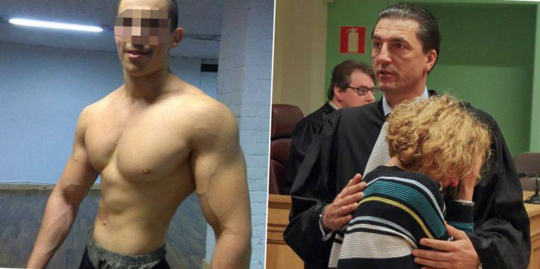 De 20-jarige Antwerpenaar Elias K. werd dodelijk getroffen. Rechts: de moeder is zwaar aangeslagen na de uitspraak en zoekt troost bij meester Kris Luyckx.