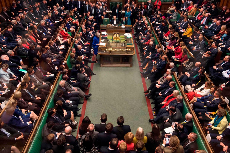 Het Britse Lagerhuis eerder deze maand nadat het Brexit-plan van premier Theresa May met overweldigende meerderheid werd verworpen.
