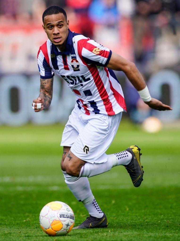 Willem II-speler Damil Dankerlui in een wedstrijd tegen PEC Zwolle. Beeld BSR Agency