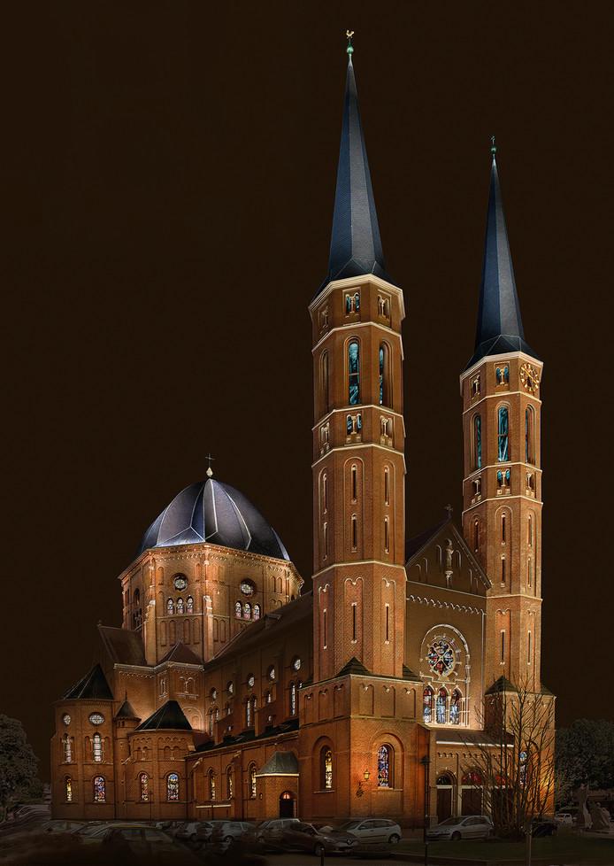 Zo ziet het lichtplan voor de Petruskerk eruit. Kosten: 250.000 euro.