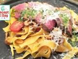 Biefstuk met pasta en basilicumolie