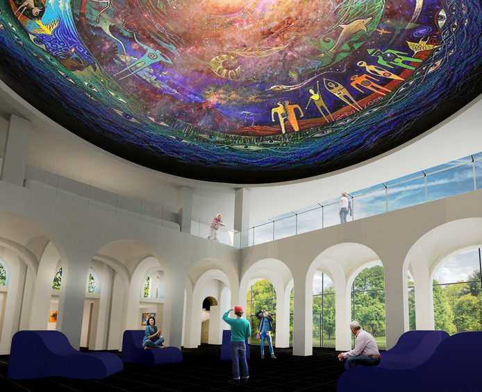 De grote koepel boven de centrale hal in de nieuwe hoofdingang. Hier zullen ook films gedraaid worden.