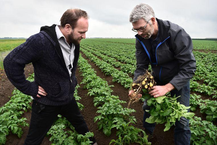 Ook na de ontboezeming van Dingeman Burgers (r) over het gebruik van landbouwgif, stapt Herman van Bekkem (l) van Greenpeace nog bij hem binnen.  Beeld Marcel van den Bergh / Volkskrant