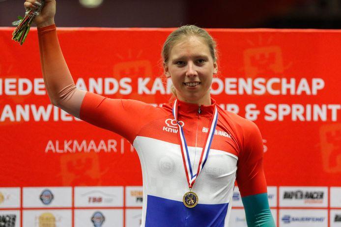 Lorena Wiebes tijdens het Nederlands kampioenschap Track.