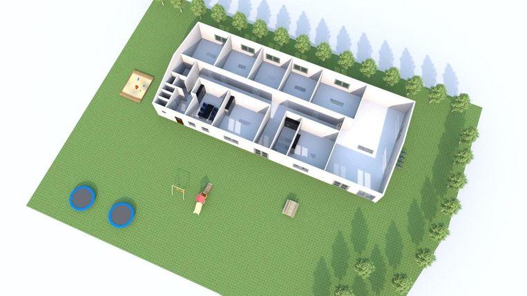 Naast verschillende afdelingslokalen zijn onder andere ook een grote polyvalente zaal, sanitair en keuken voorzien.