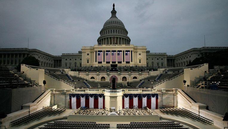 Het Capitool voorafgaand de inauguratie van Donald Trump. Beeld anp