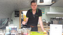 Bryan van Gennip toont een aardappeltwister.