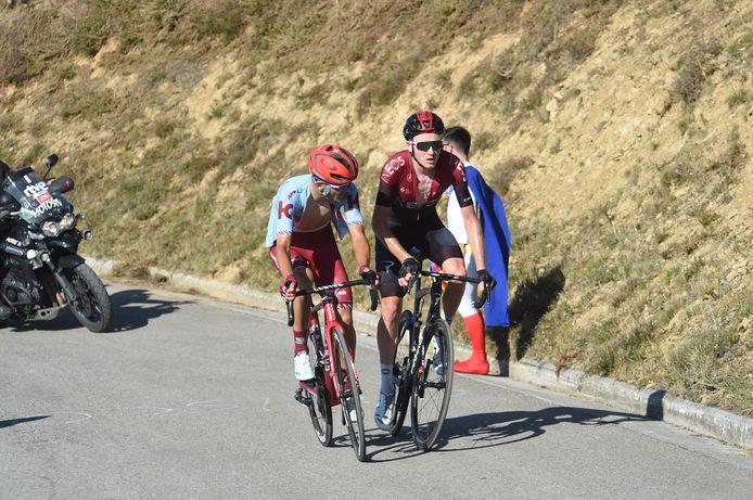 Guerreiro (l) en Hart tijdens de etappe.