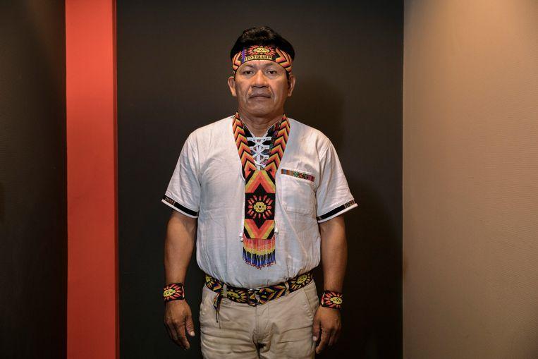 Aurelio Chino Dahua, President van Fediquep, de 'Federation of Quechua of the river Pastaza'. Beeld Inge Van Mill