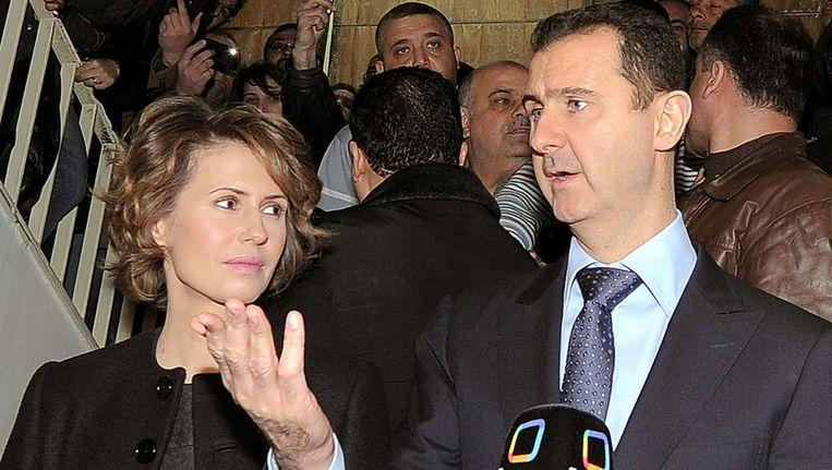 Bashar al-Assad en zijn vrouw Asma. Beeld null