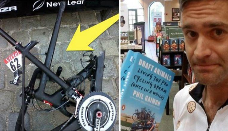 Links: de fiets van Hesjedal in de Vuelta 2014, rechts: Phil Gaimon met zijn biografie.