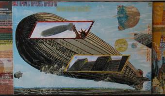 Een Russische zeppelin met het Amerikaanse Vrijheidsbeeld