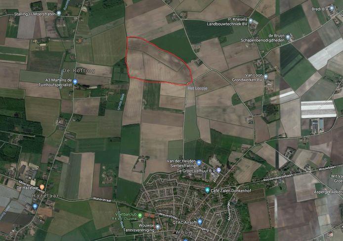De beoogde locatie van het zonnepark in Wouw