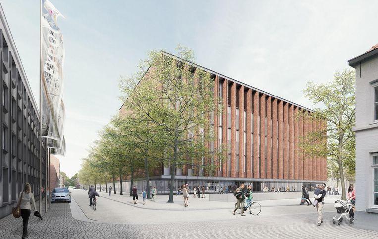 Een simulatiebeeld van het nieuwe beurs- en congresgebouw, dat 25 meter hoog zal zijn.