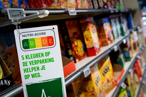 De Nutri-Score in een supermarkt in Brussel.