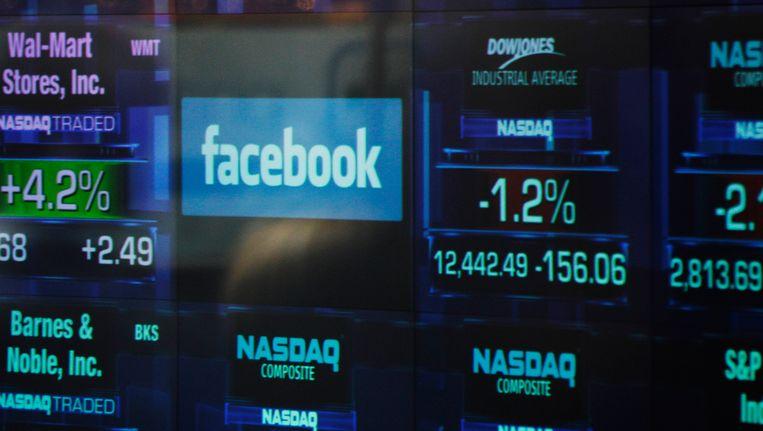 Het Facebook logo op een display op de NASDAQ index. Beeld AP