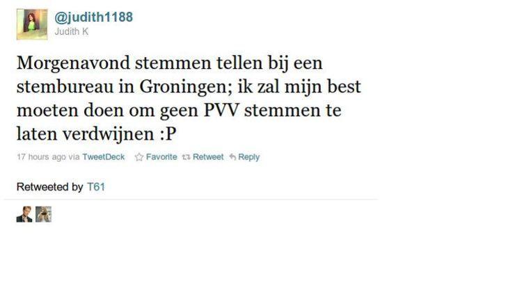 De bewuste tweet, screenshot via GeenStijl. Beeld null