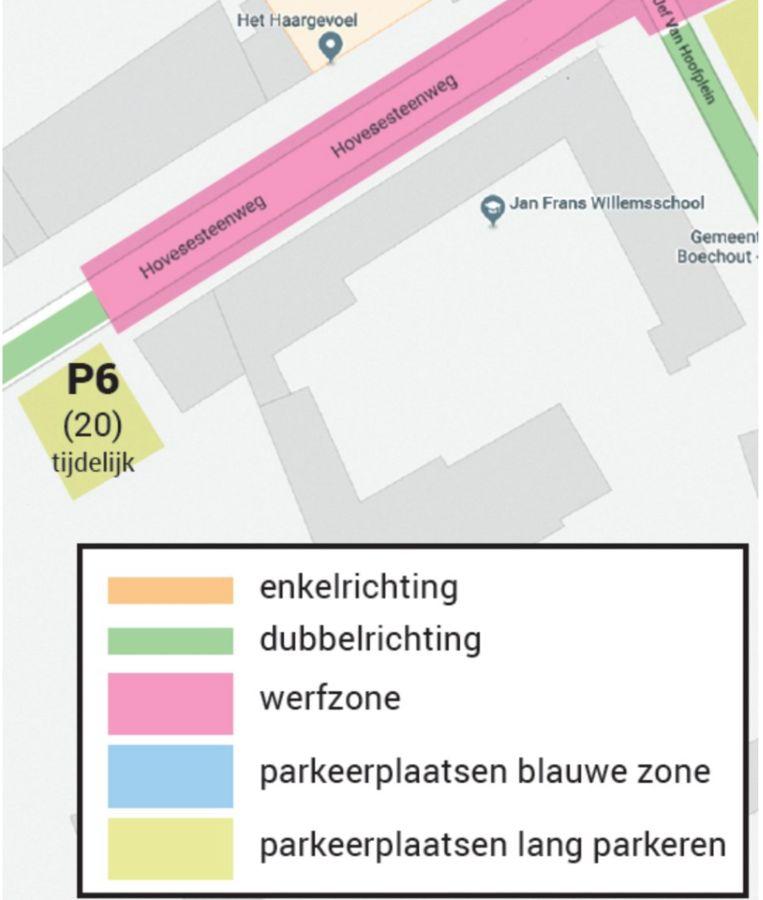 De nieuwe tijdelijke parkeerplaats (P6) biedt plaats aan twintig wagens