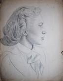Bella Heckscher, getekend door Bert Gorissen in 1940. Overleed vermoedelijk op 16 april 1943 in concentratiekamp Sobibor in Polen.