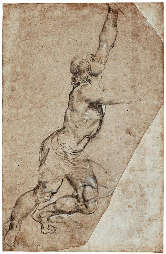 Voorstudie (zwart en wit krijt op papier 49, 1×31,5 cm) van Peter Paul Rubens voor een in 1608 door hem geschilderd altaarstuk.