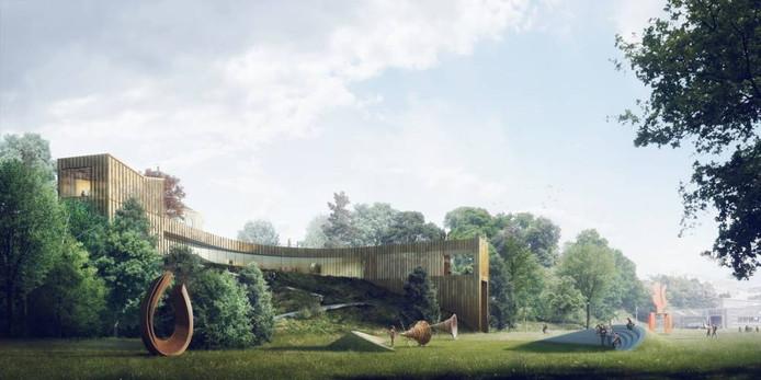 Kraaijvanger met Krft en Kokke Designer maakt een nieuwe entree op Onderlangs. Het museum krijgt flexibele, ondergrondse zalen. Ook hier wordt de koepel het centrum en is aandacht voor 'de oeroude uitzichten'.