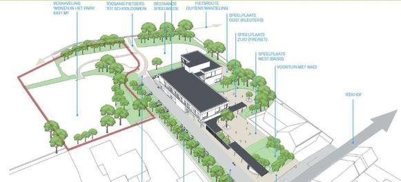Een simulatiebeeld van het nieuwbouwproject op het Rekhof.