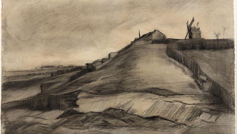 Vincent van Gogh - De heuvel van Montmartre met steengroeve (maart 1886). Zwart krijt, geveegd en gegumd, witte dekkende waterverf, op vergépapier met watermerk PL BAS, 30,9 x 47,7 cm. Beeld John & Marine van Vlissingen Art Foundation