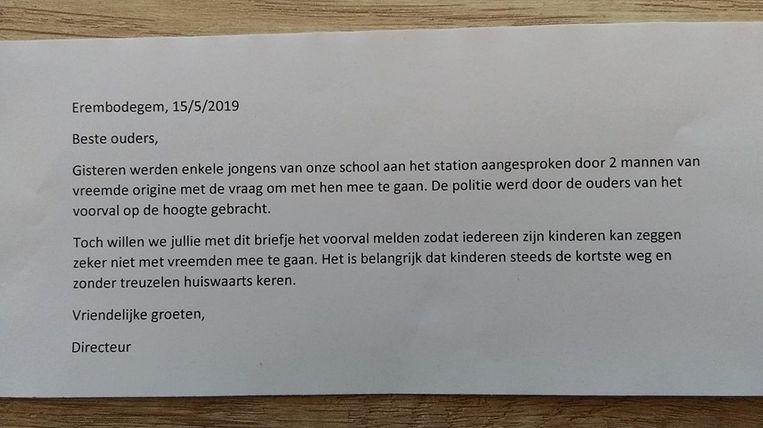 De bewuste brief die door de school meegegeven werd, reden tot paniek is er echter niet.