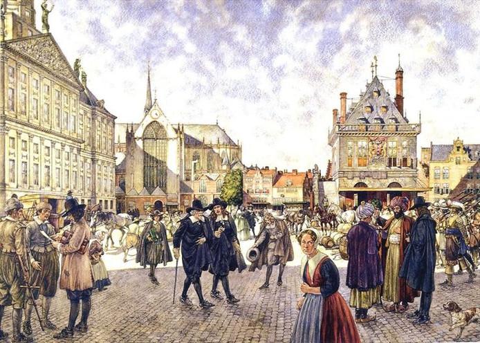Oude schoolplaat: Amsterdam in de Gouden eeuw.