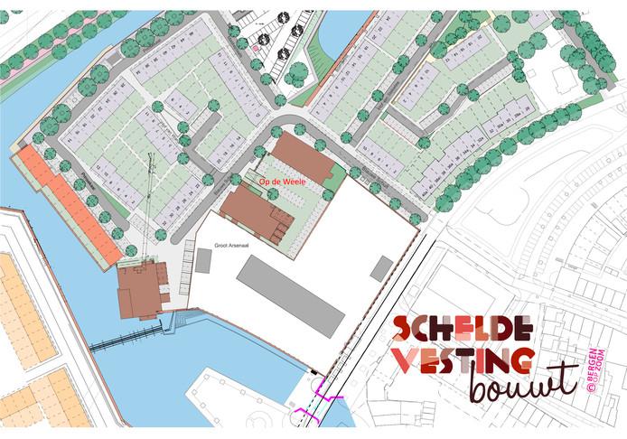 De locatie van Op de Weele in Bergen op Zoom.