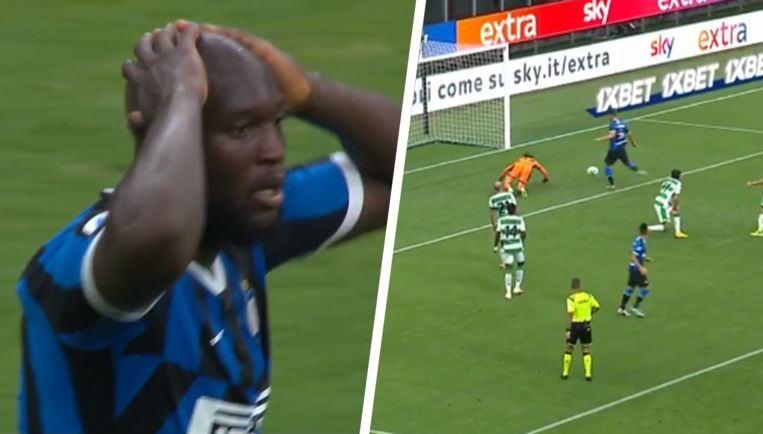 Lukaku kon zijn ogen niet geloven toen Gagliardini de bal tegen de lat knalde.