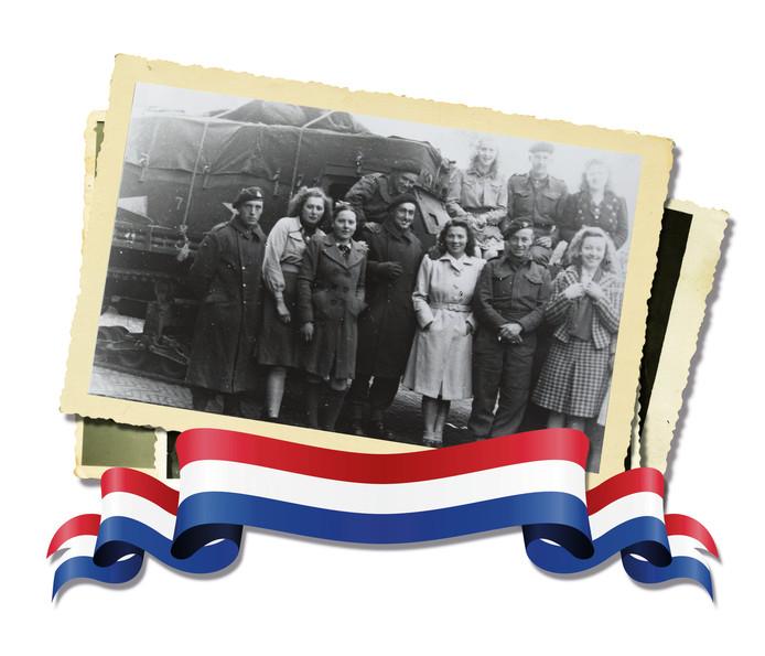 Hilvarenbeekse meiden en de Britse bevrijders in Hilvarenbeek. Diessen werd 3 okotber 1944 bevrijd. Hilvarenbeek was een dag later aan de beurt .