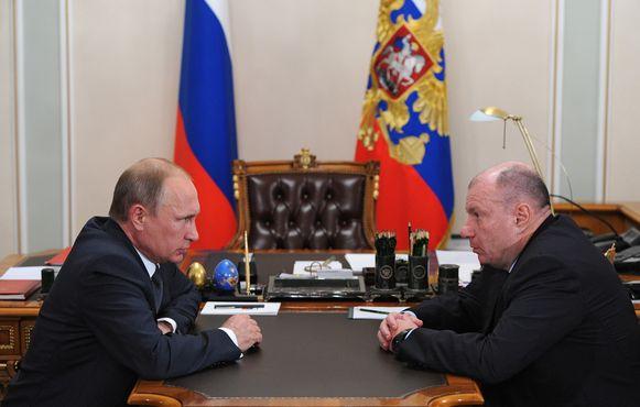 Vladimir Potanin tijdens een meeting met de Russische president Poetin in 2014.