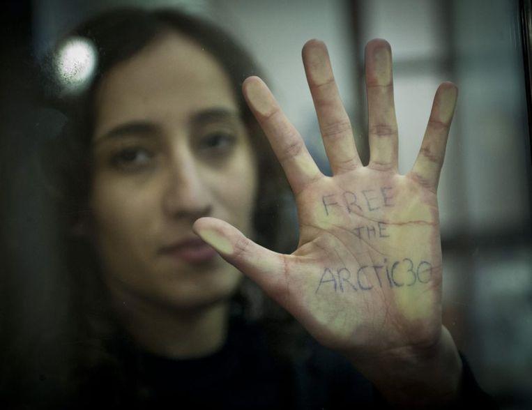 Faiza Oulahsen afgelopen oktober in haar cel in Murmansk. Beeld epa