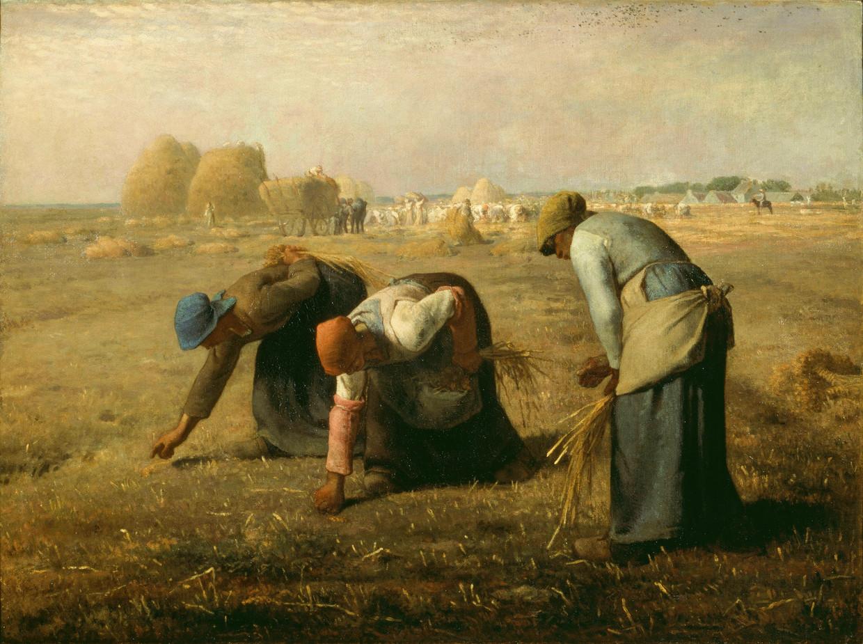 Op De arenlezers contrasteerde Millet het werk van de straatarme arenlezers op de voorgrond met de rijkdom van de oogst in de verte, maar gaf hij de drie vrouwen ook heroïsch weer. Schandelijk, vond men toen.