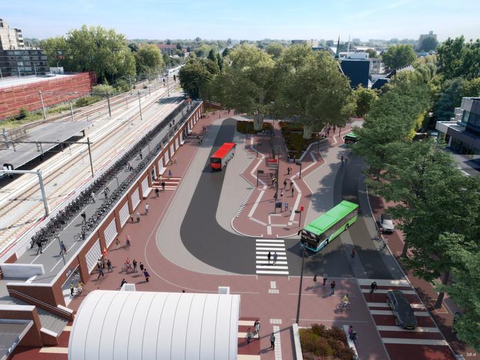 Het Goudse stationsplein met links de nieuwe fietsenstalling