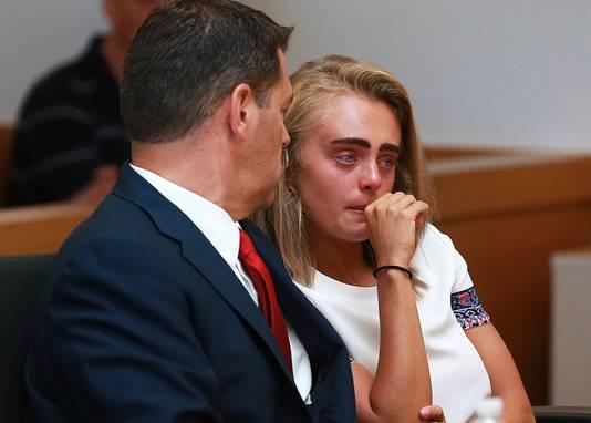 Michelle Carter wacht haar straf af tijdens de hoorzitting in het Amerikaanse Massachusetts.